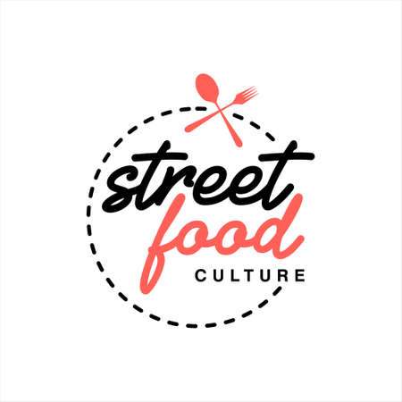 simple street food logo badge template. famous shop vector and label design inspiration  イラスト・ベクター素材