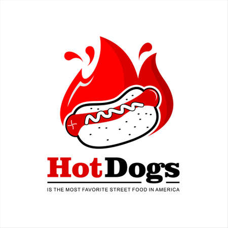 Hot dogs bun logo design template. American street food recipes with grilled sausage label or sticker ideas