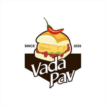Vada Pav Logo Street Food vector. Mumbai Bun Bread with Fried Potato Dumpling and Spicy Herbs Label or Sticker Design Template Idea