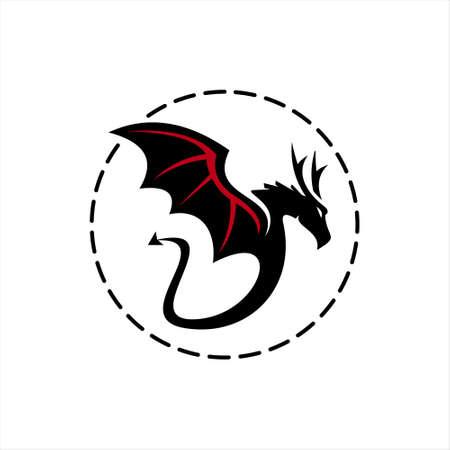 Wings Dragon Logo. Animal Vector. Design Template. in simple round black frame ancient animal creature icon design idea  イラスト・ベクター素材