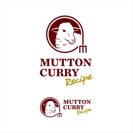 Sheep Logo Mutton Lamb Meat Vector. Grill and Chop Bar Food Design Template Inspiration  イラスト・ベクター素材