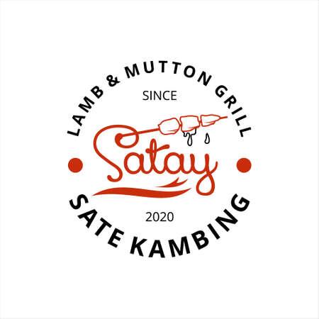 Fun Simple Satay Logo Stamp Badge Food Vector Graphic Design Traditional Culinary Food Cuisine Label Template Idea