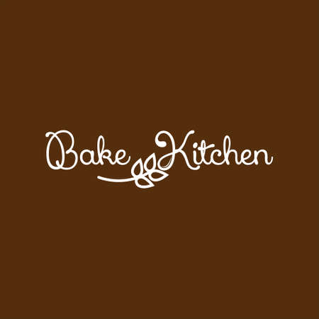 Simple Text Bakery Logo Bake Kitchen. Organic Bread Shop Vector and Typography Label Design Inspiration