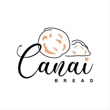 Canai Bread Logo Design Bakery Vector. Popular India and Asia Dish Gourmet Label or Sticker Inspiration  イラスト・ベクター素材