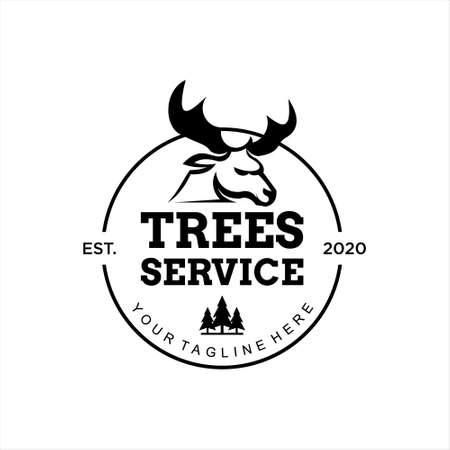 Tree Service Logo Design Template Idea. Buck Head and Pine Trees Vector Seal Badge Inspiration  イラスト・ベクター素材