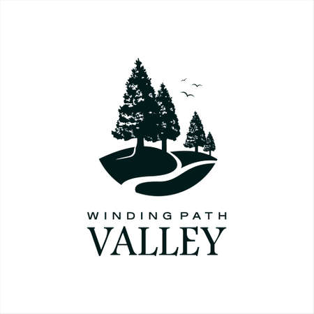 Valley Logo Vector with Black Pine Tree Silhouette Winding Path Illustration Design Template  イラスト・ベクター素材