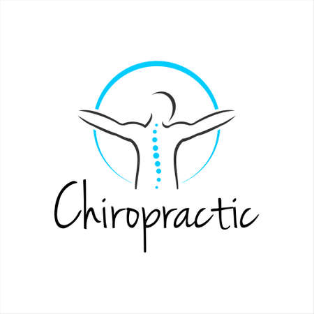 Chiropractic Logo Design Health Medical Vector. Clinic Pain Relief Spine Care Template Inspirations
