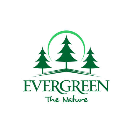 pine tree logo simple green forest vector evergreen for logging or wood industry graphic design template idea