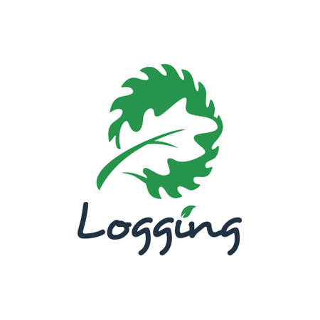 Logging logo design wood cutting industry. nature element vector sawmill icon timber template inspiration  イラスト・ベクター素材