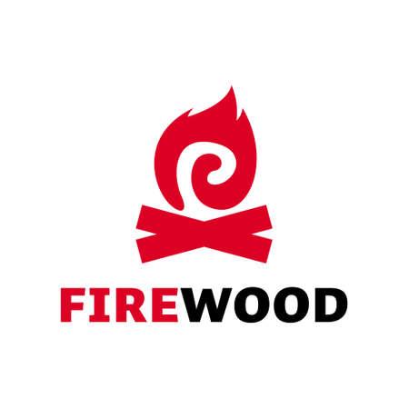 Firewood logo modern vector illustration idea. Flame campfire outdoor activity sign or symbol inspiration