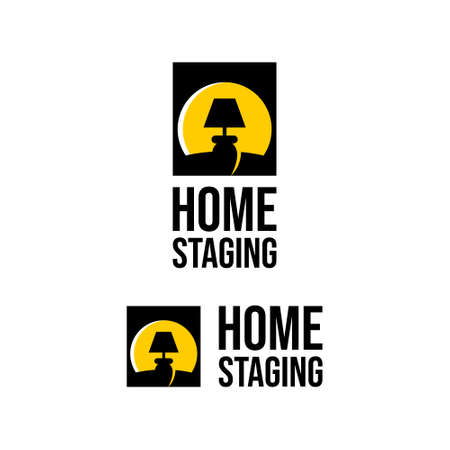 home staging logo cabinet lamp light. property care vector template real estate business idea  イラスト・ベクター素材