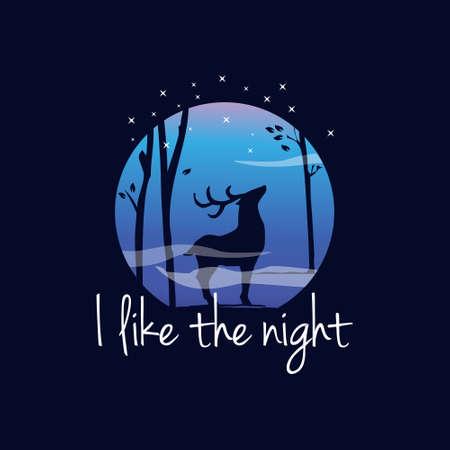 Nature Forest Deer Silhouette Badge Logo Design Illustration Premium Vector Fantasy Inspiration for Print on Demand  イラスト・ベクター素材