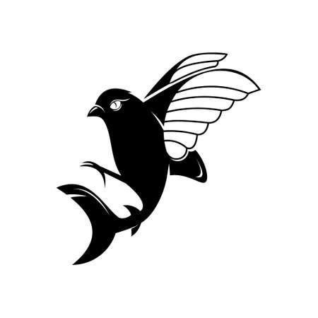 bird with shark tail hybrid vector. animal logo design graphic template for inspiration idea