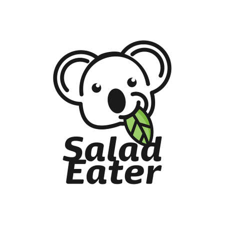 Koala Logo Design Animal Vector Art. Vegan Meal Menu Vegetarian Healthy Food Salad Eater Inspiration