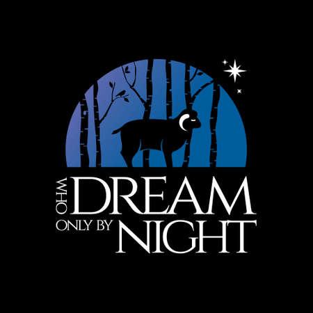 Nature Forest Sheep Silhouette Badge Logo Design Illustration Premium Vector Fantasy Inspiration for Print on Demand