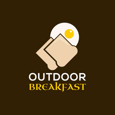 Simple Breakfast Vector Illustration Eggs and Toast Bread. Hiking or Camping Meal Menu Inspiration