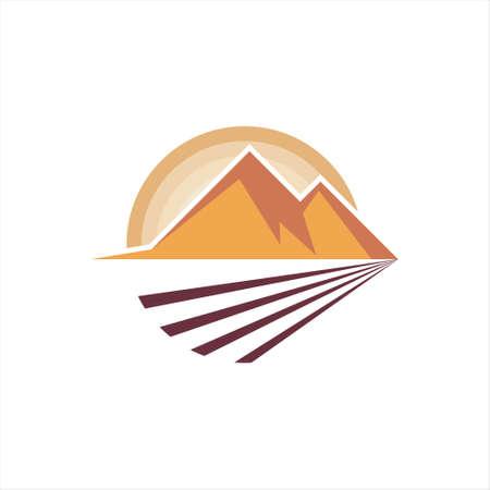 Mountain Vector Natural Color Cartoon Illustration, Valley Logo, Nature Design Element Template Inspiration