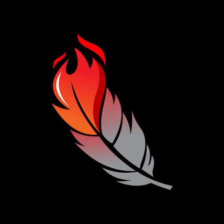 Modern Phoenix Fire Bird Feather Illustration Vector Wings Animal Design Print or Sticker Inspiration