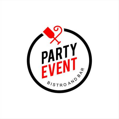 Simple Round Emblem Party and Event Badge Vector Label Design Inspiration Celebration Element or Sticker Idea