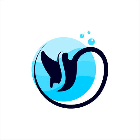 stingray logo simple modern blue circle for sea animal vector or fish icon design with letter S monogram inside best for print on demand idea