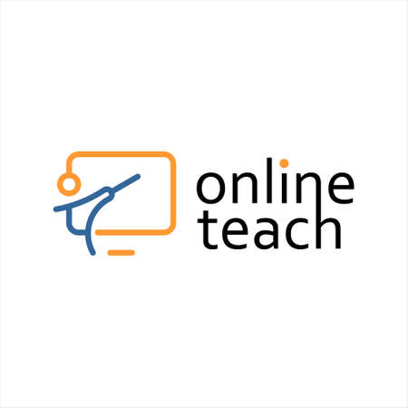 online teach logo design template modern line art vector for education and technology inspiration 矢量图像