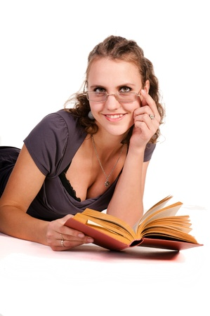 poor eyesight: the girl is reading a book, Poor eyesight