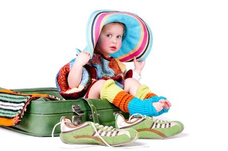 Mode M�dchen misst die Erwachsenen Dinge gro�en Koffer