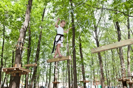 adventure climbing high wire park  Stock Photo