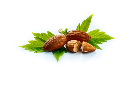 almonds with green leaves, vegetarian food, healthy lifestyle