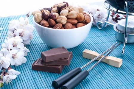 kit for the preparation of chocolate fondue with nuts, flowers in the background Banco de Imagens