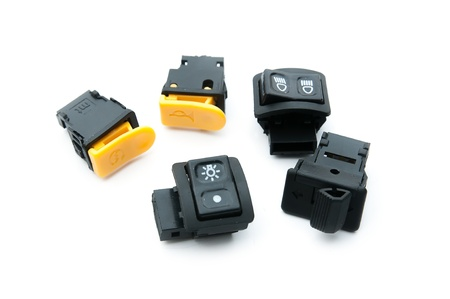 spare part: set of toggle switches and switches, electronics motorcycle spare part Stock Photo