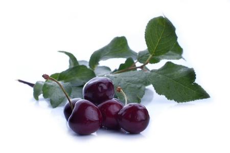 Ripe red cherry berries with leaves.