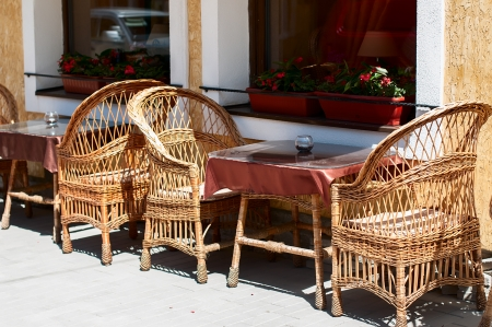 cafe on the street, Wicker furniture made of twigs Stock Photo