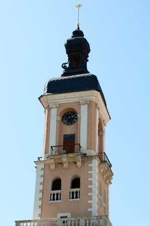 old town hall with beautiful ancient clocks photo
