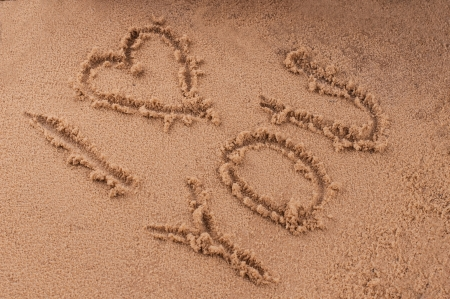 i Love you in the sand Stock Photo