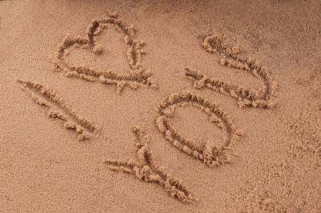 ich liebe dich in den Sand Lizenzfreie Bilder