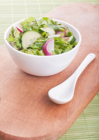 Chopped salad with goat cheese on a green background Stock Photo - 23979657