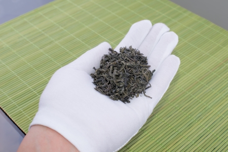 Cupped hands holding green tea Stock Photo