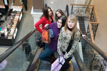Group of girls at the shopping center photo