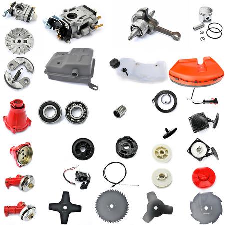 Ersatzteile im zerlegten Form, Benzinmotor, Rasenreinigung, mechanische