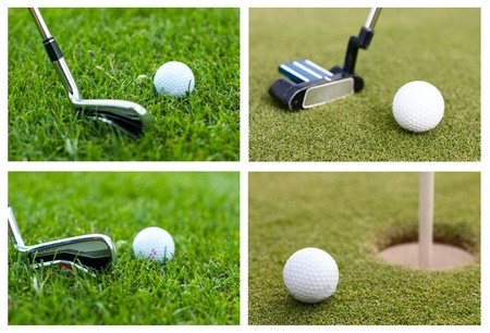 a golf ball on a green meadow, collection Stock Photo