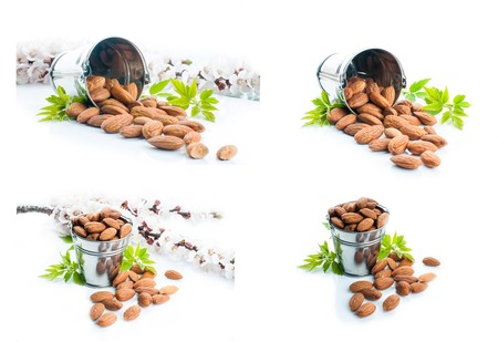 almonds with green leaves, vegetarian food, healthy lifestyle,collection photo