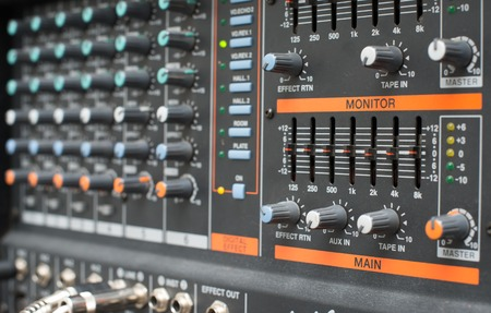 Sound mixer control panel, Mixer photographed from side angle photo