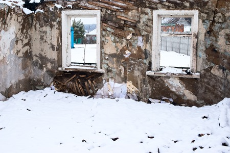 The ruins of the destroyed building in the Donetsk region