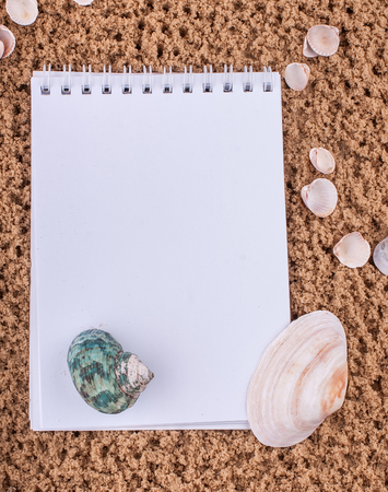 Notepad with pencil and starfish, shell on sand background or on the beach of sea using wallpaper for education photo.Take note of the product for book with paper concept or copy space and refreshing. Standard-Bild - 96174452
