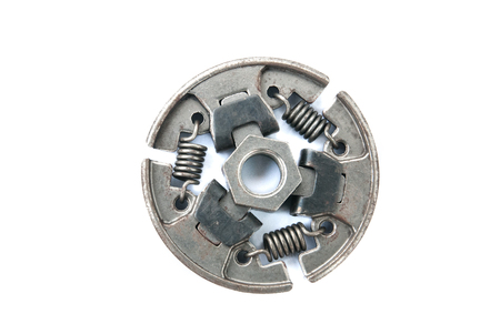 A new set of replacement automotive clutch on a white background. Disc and clutch basket with release bearing. Stock Photo