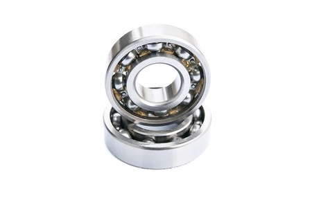 Two ball bearings, isolated on white background with clipping path.