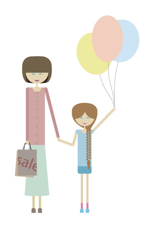 mather: Girl with mom Illustration