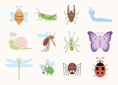 cartoon larva: Funny insects