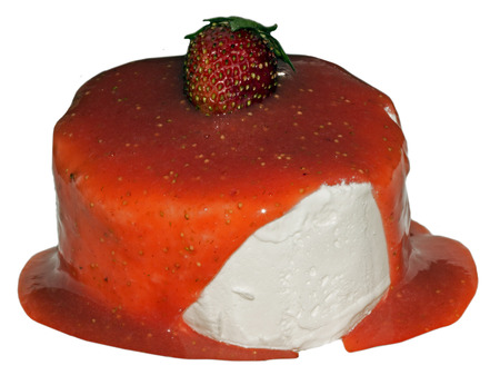 Ice-cream with a strawberry and confiture on a white background photo